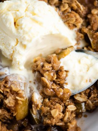 gluten free apple crisp with ice cream