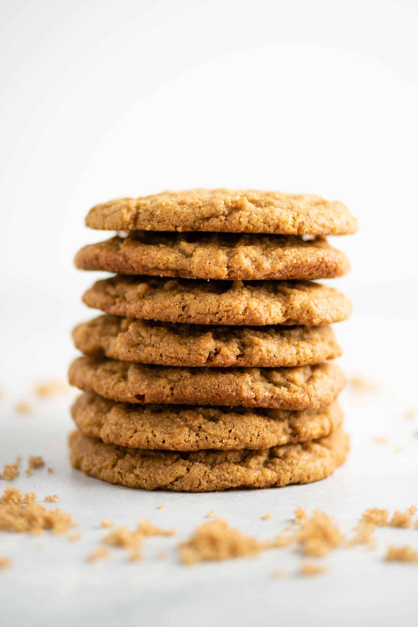 7 peanut butter cookies stacked