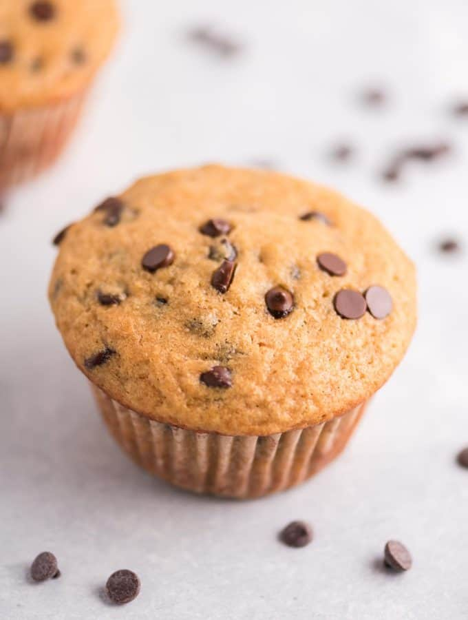 single greek yogurt chocolate chip muffin