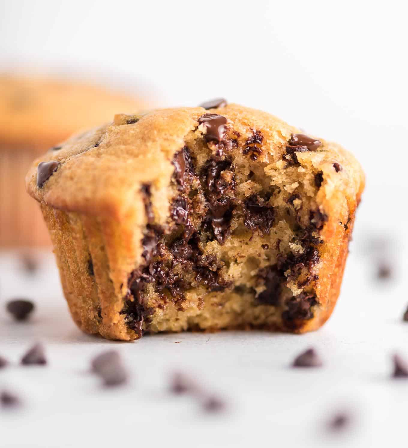 greek yogurt chocolate chip muffin with a bite taken out