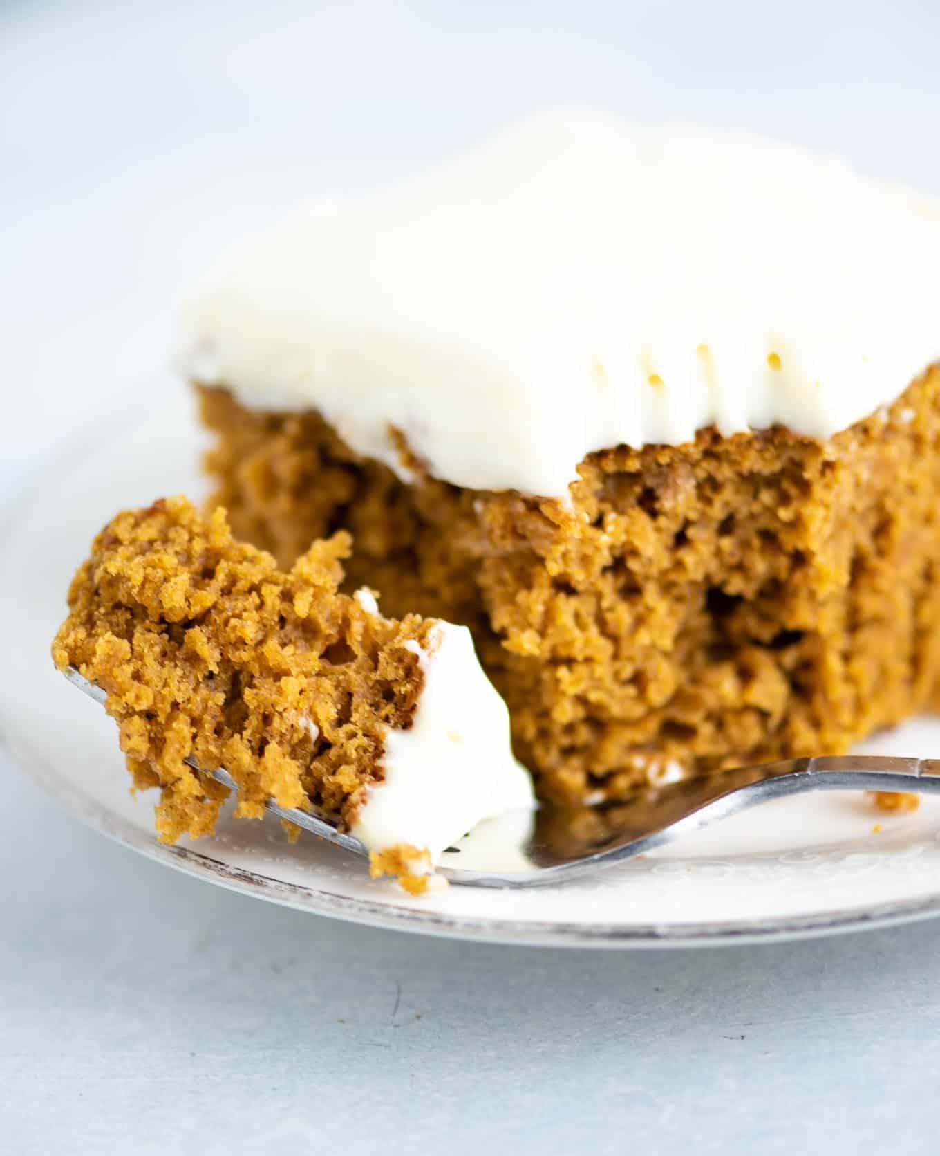 a bite of pumpkin cake
