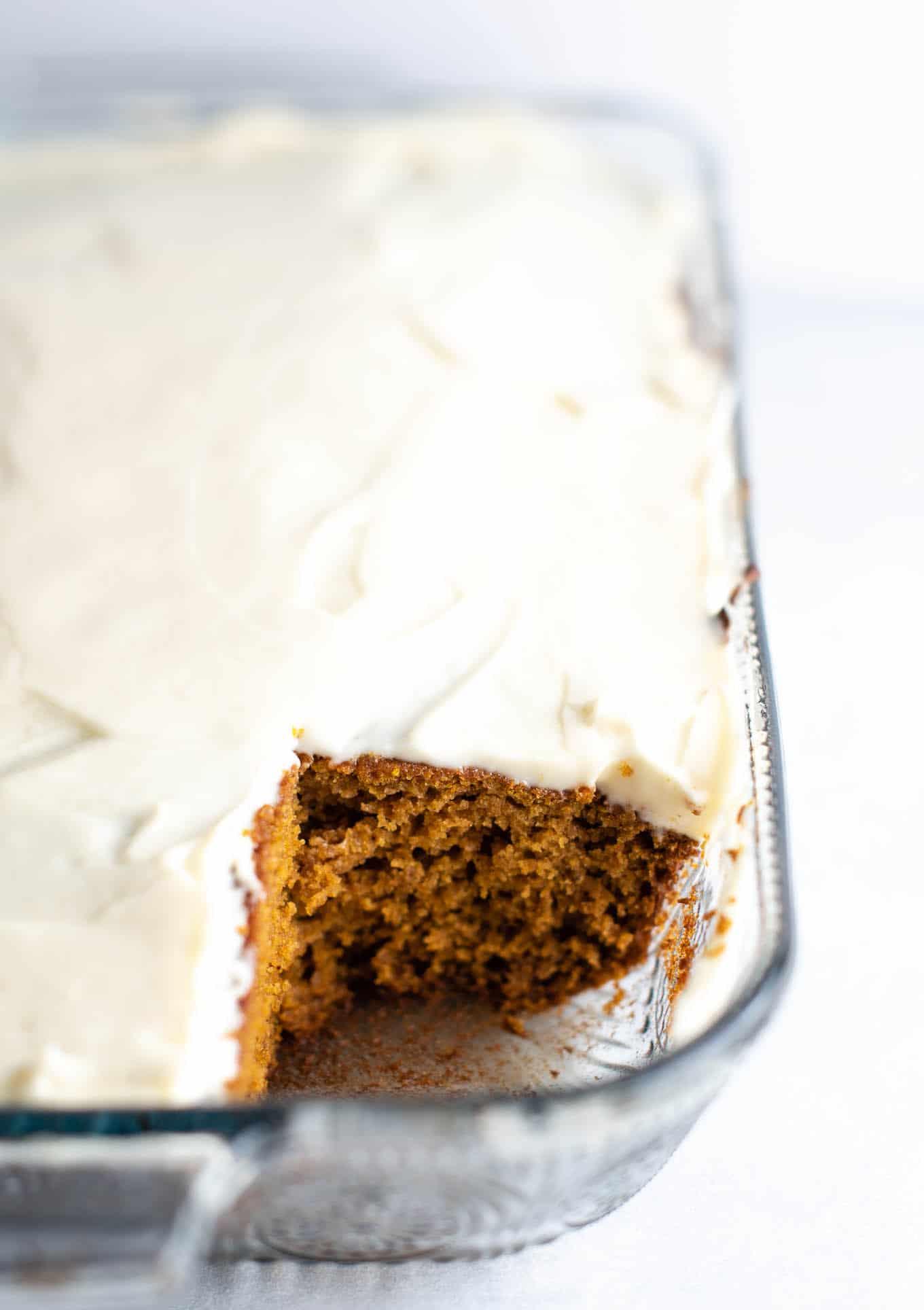 pumpkin cake in a 9 X 13 pan