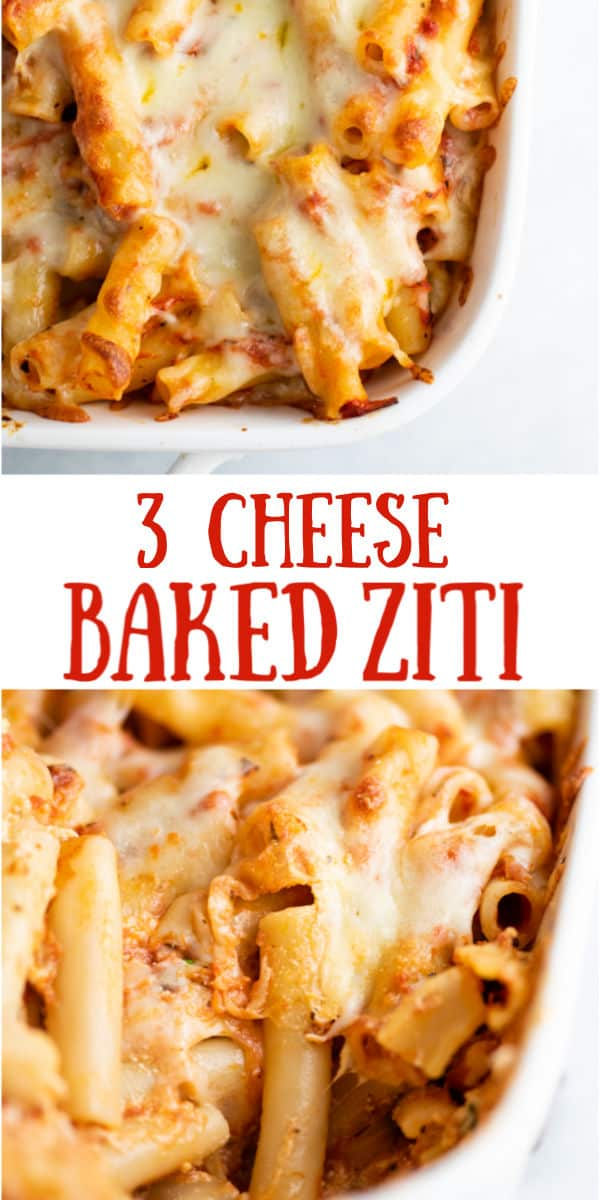 """image with text """"3 cheese baked ziti"""""""