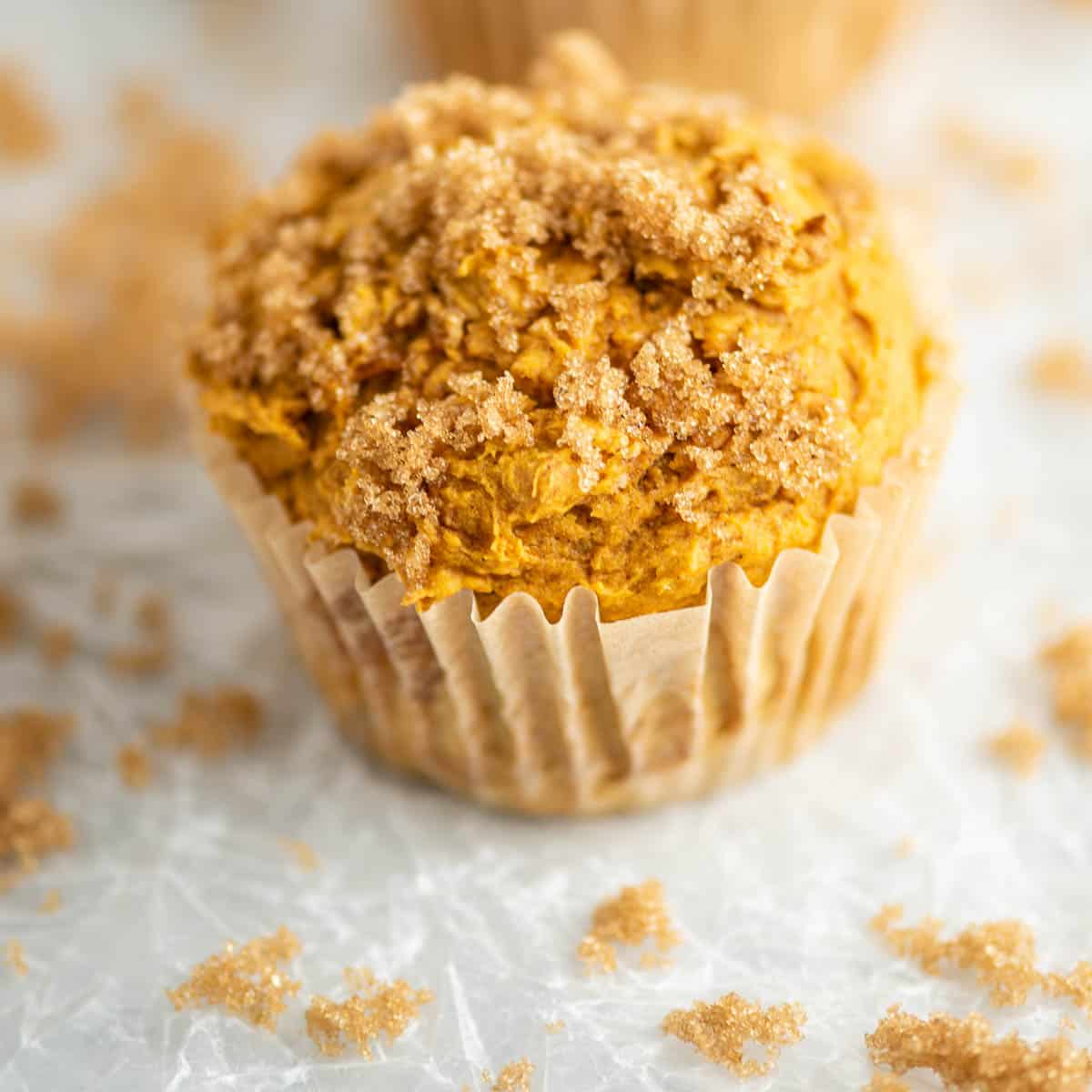 pumpkin muffin topped with brown sugar