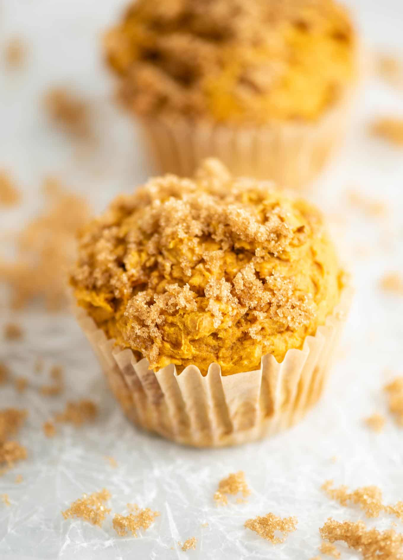 muffin with brown sugar on top