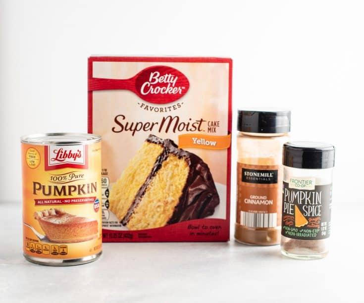 cake mix, pumpkin puree, cinnamon, and pumpkin pie spice