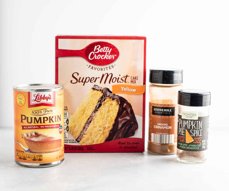 yellow cake mix, pumpkin puree, cinnamon, and pumpkin pie spice