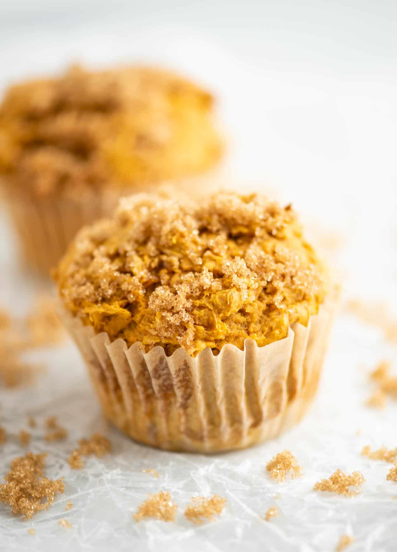 cake mix muffin with brown sugar on top