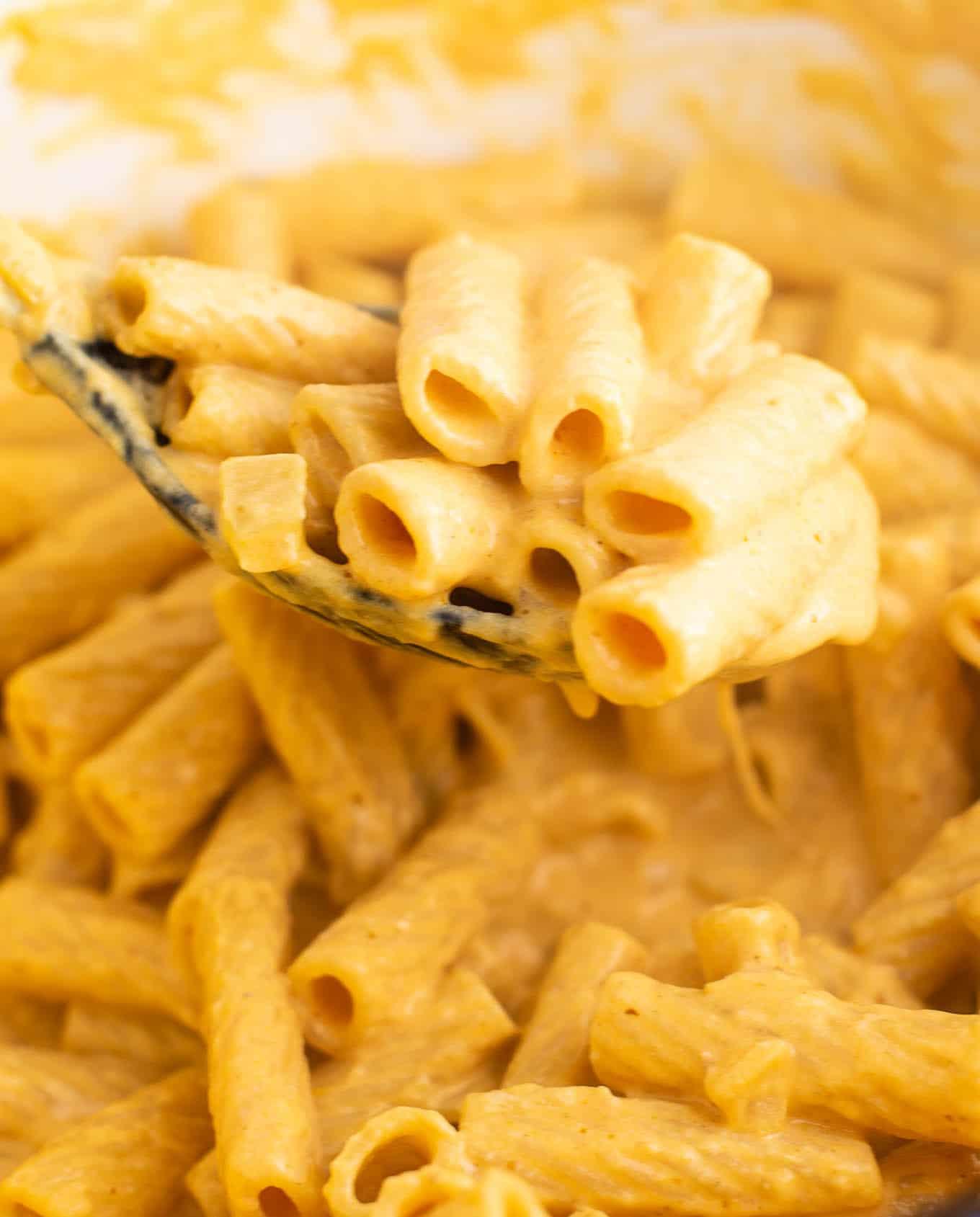 a spoonful of pumpkin pasta