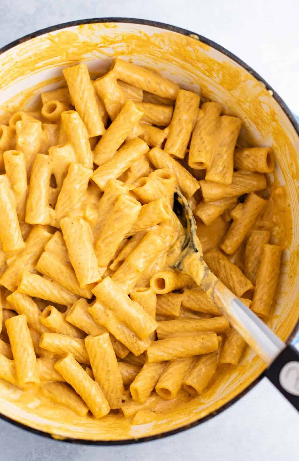 rigatoni mixed with pumpkin pasta sauce