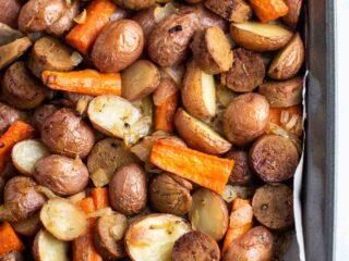 vegetarian kielbasa and veggies