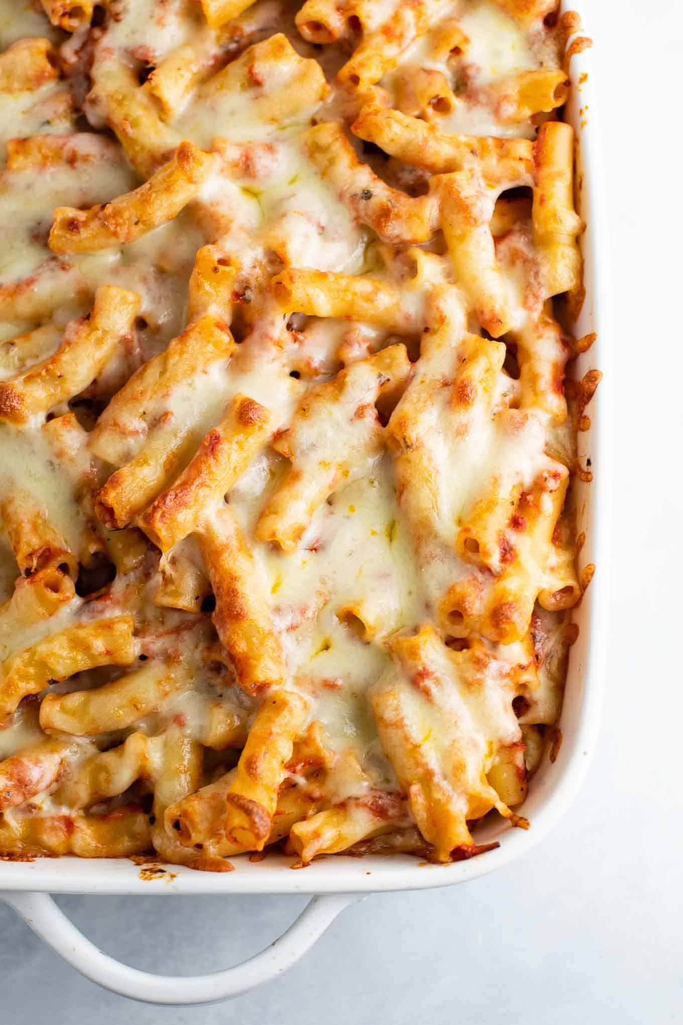 overhead shot of the baked ziti in the casserole dish
