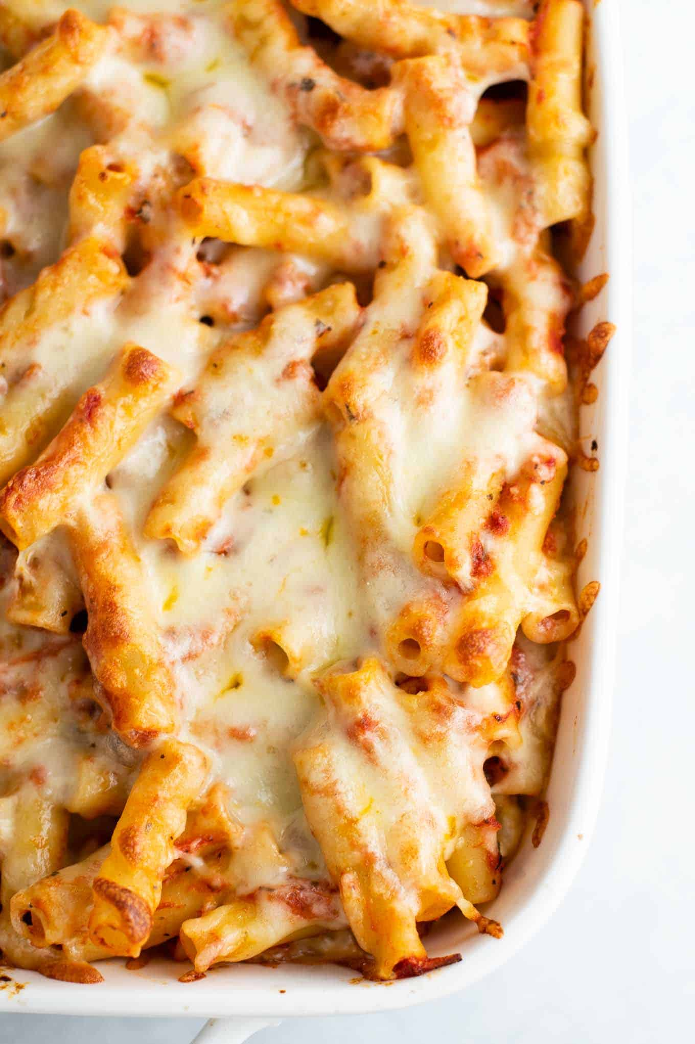 baked ziti with melted cheese on top