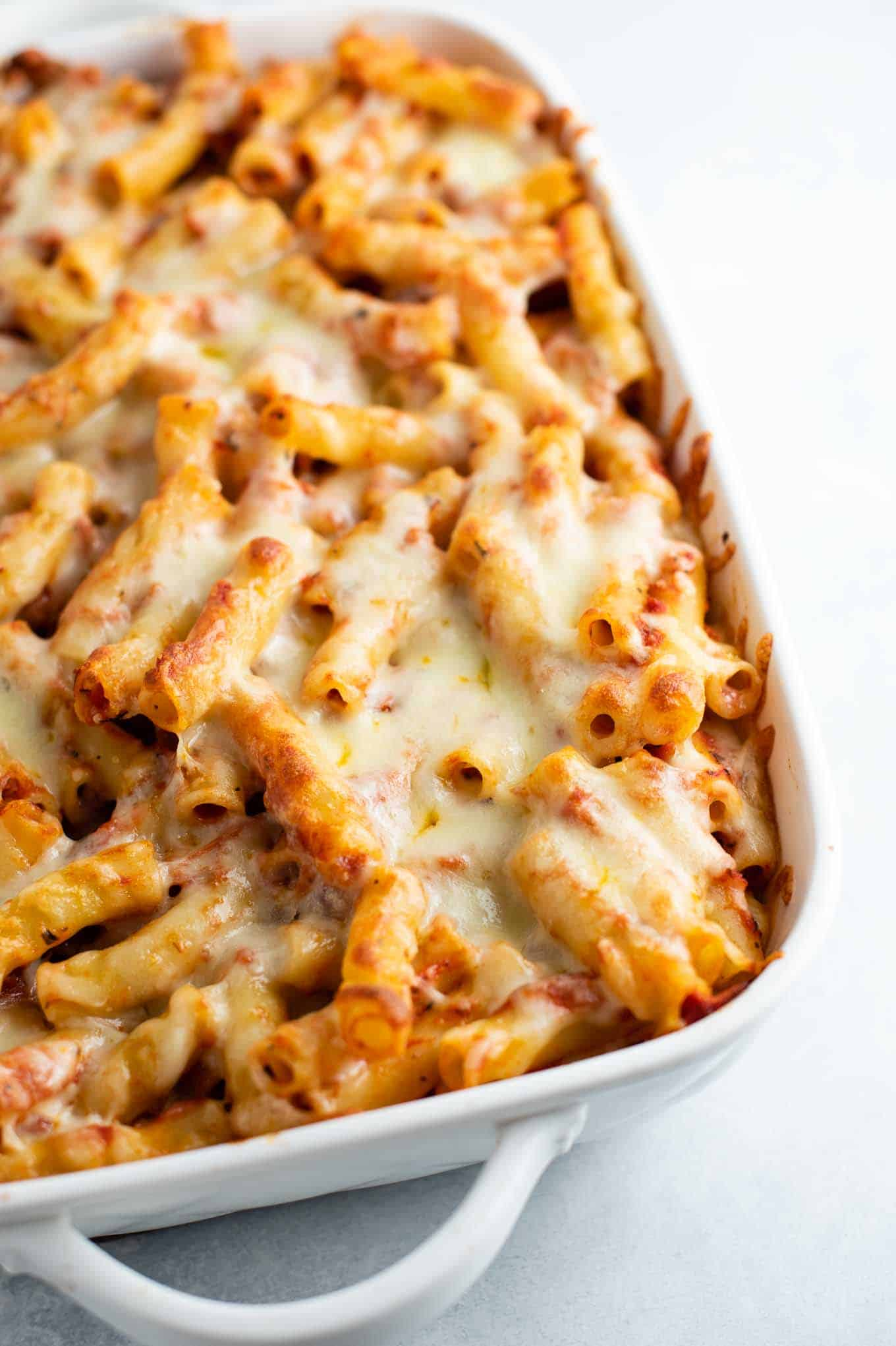 ziti in the pan before serving