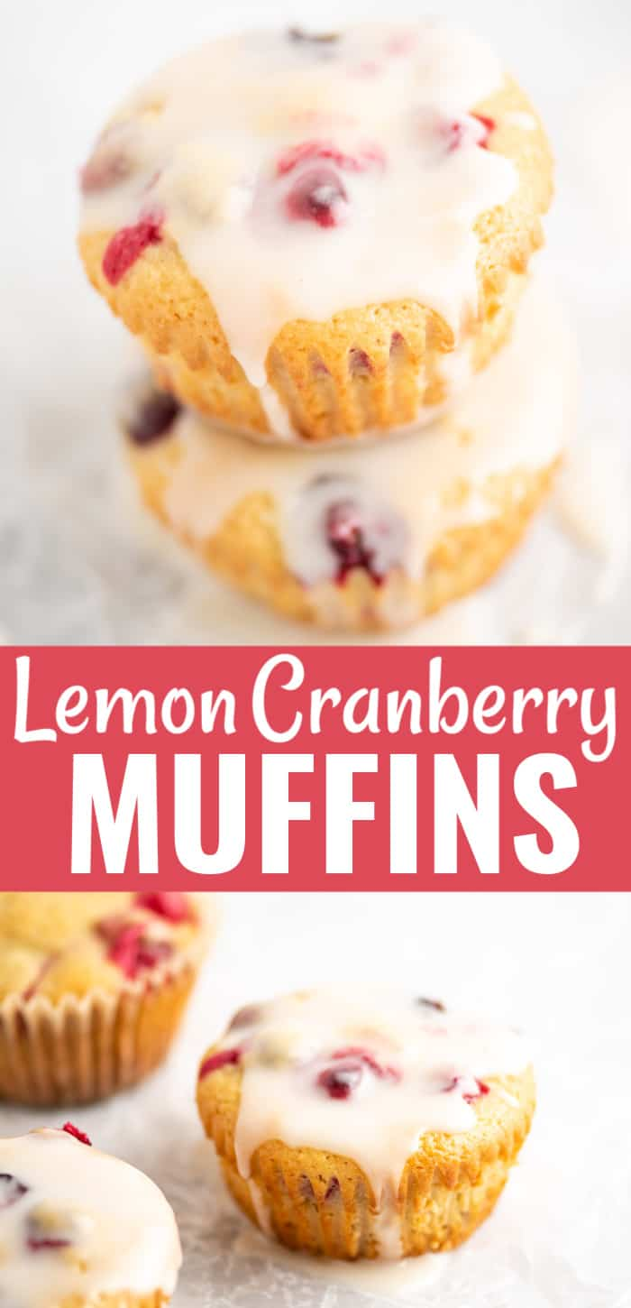 "muffin image with text that says ""lemon cranberry muffins"""