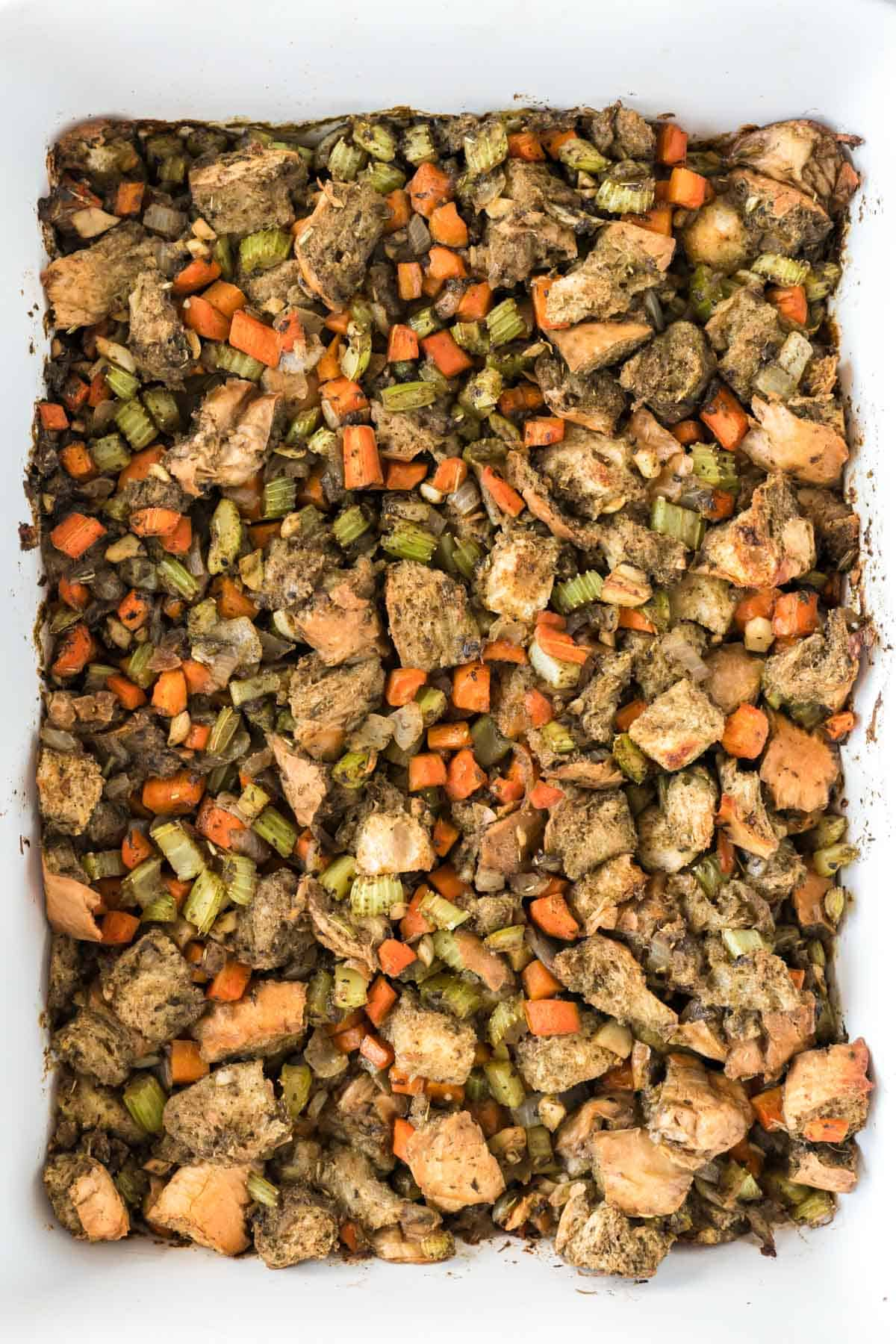 up close showing the texture of the dairy free stuffing