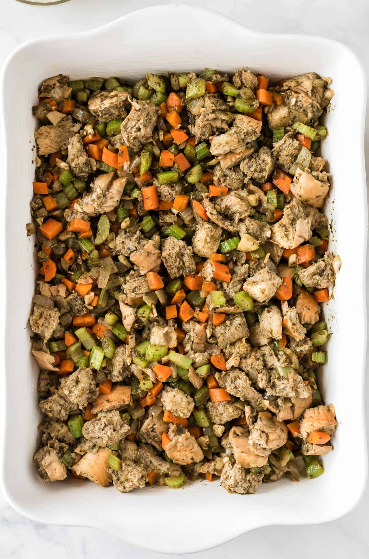 stuffing in the casserole dish