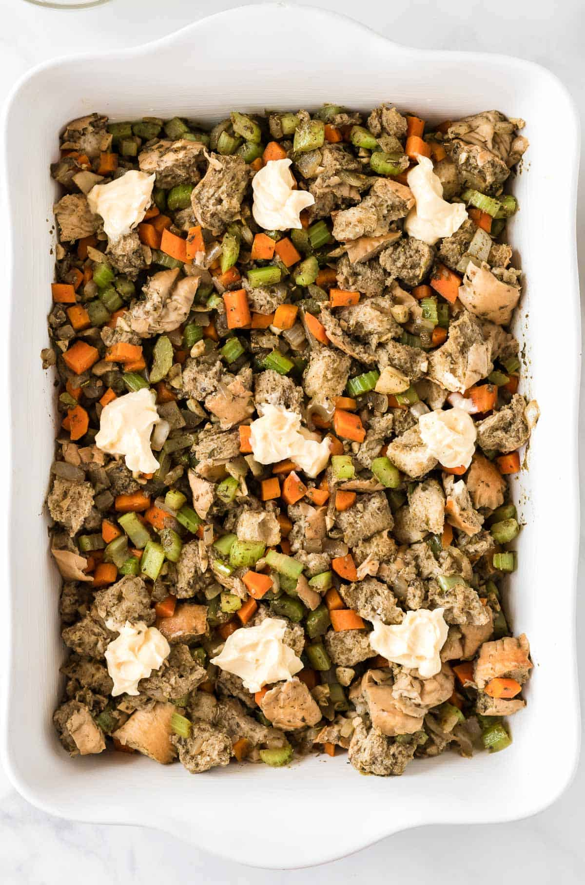 stuffing topped with vegan butter