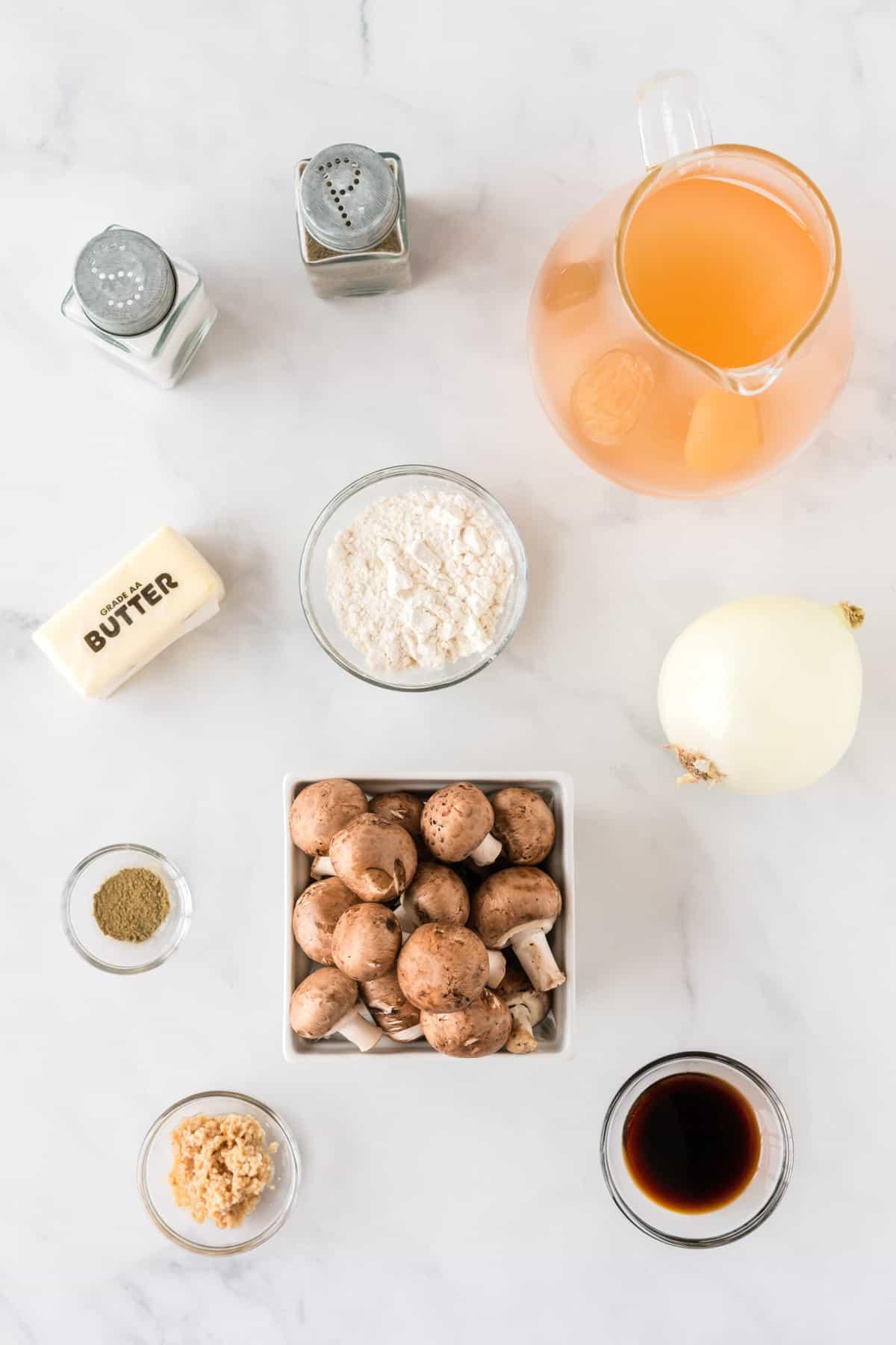 ingredients to make mushroom gravy