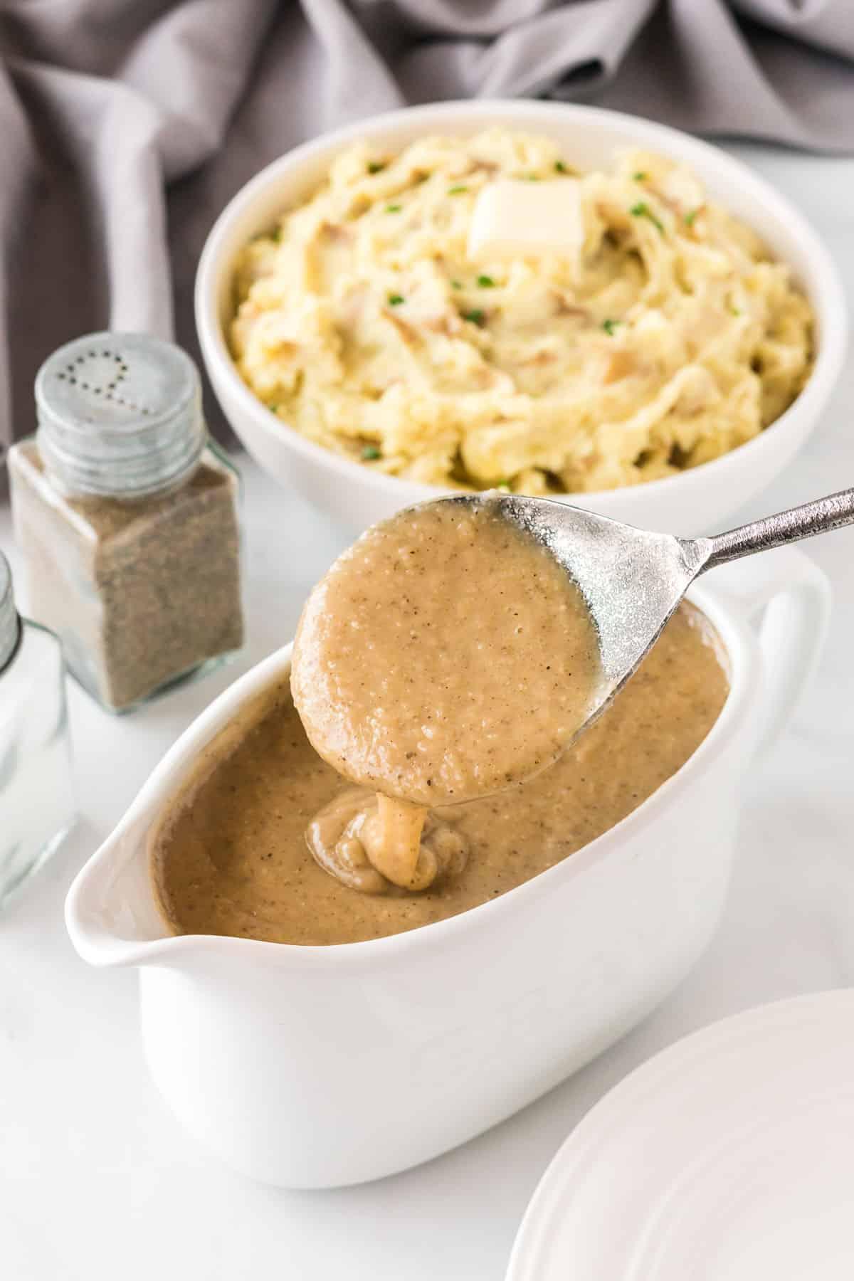 spoon in the veggie gravy