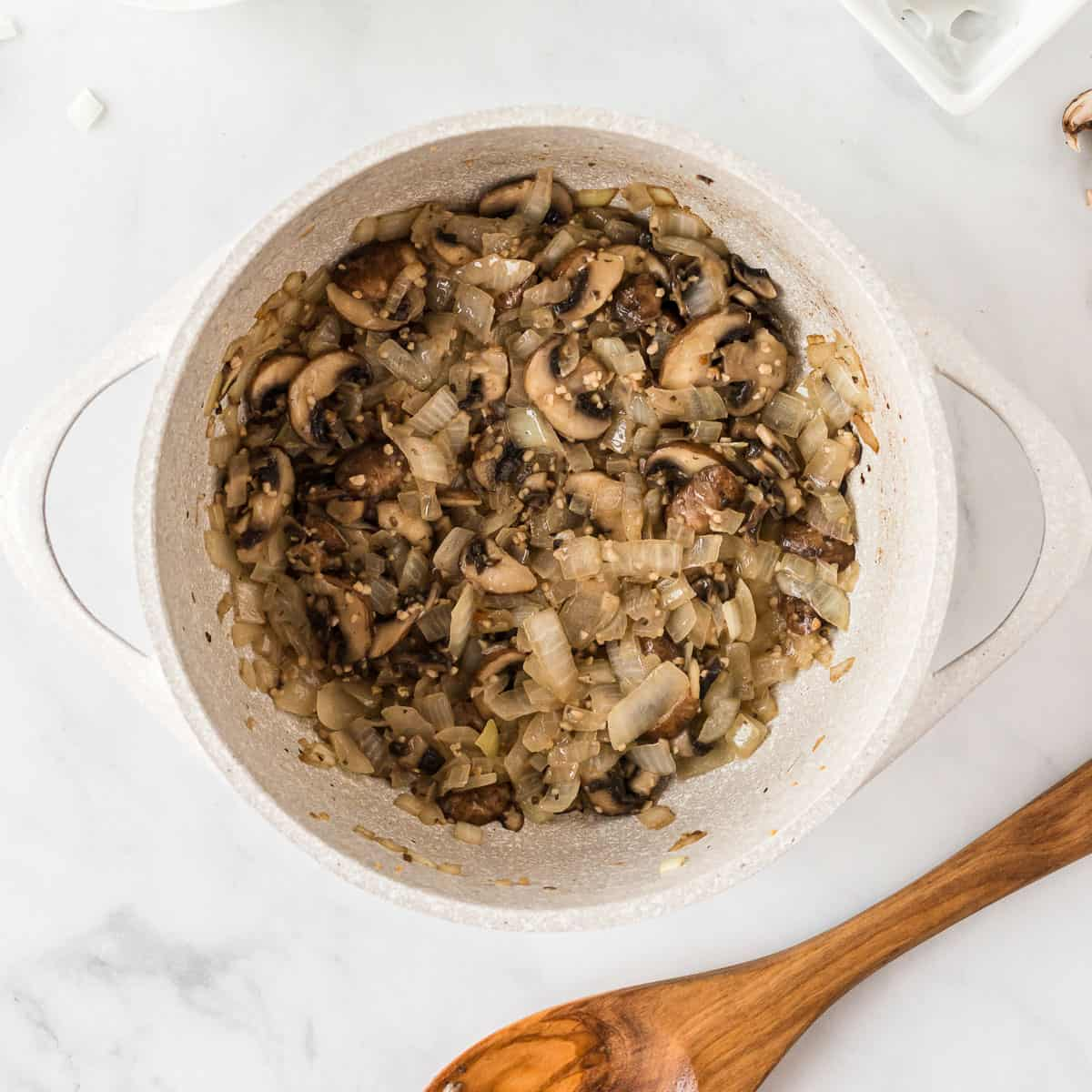 mushrooms, garlic, and onion cooked down in the pan