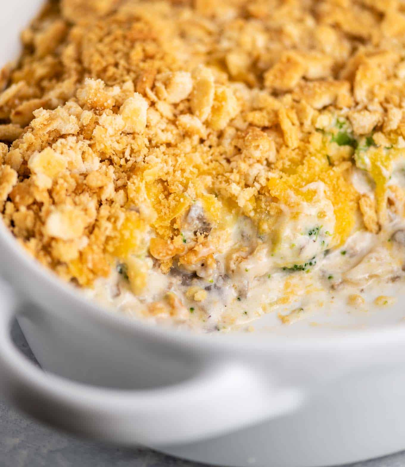 broccoli and cheese casserole in a baking dish