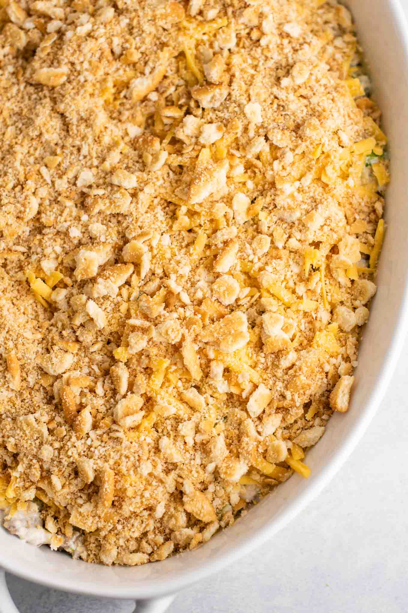crushed ritz cracker topping on the broccoli casserole
