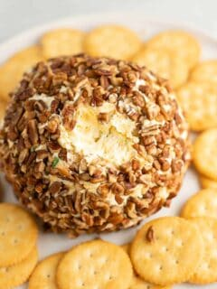 cheese ball with ritz crackers