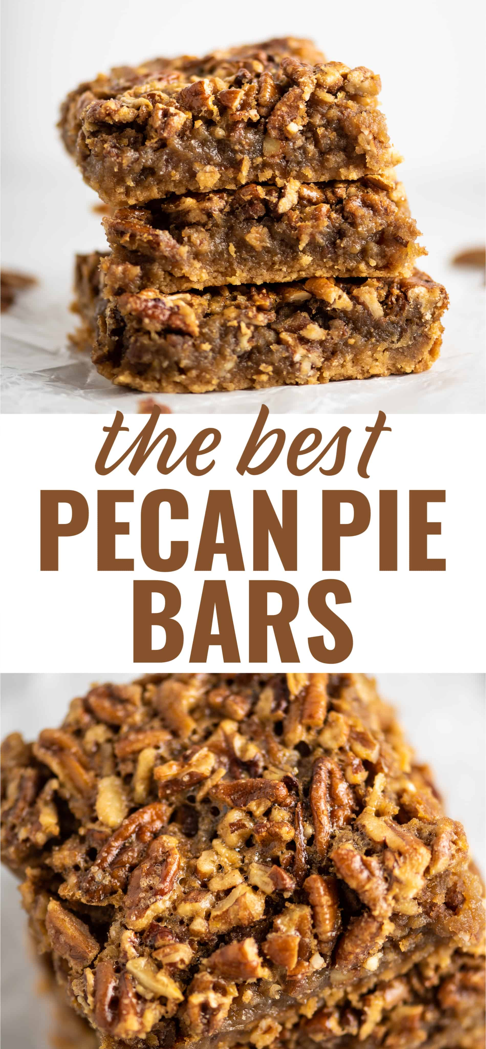 "image of pecan pie bars with the text ""the best pecan pie bars"""