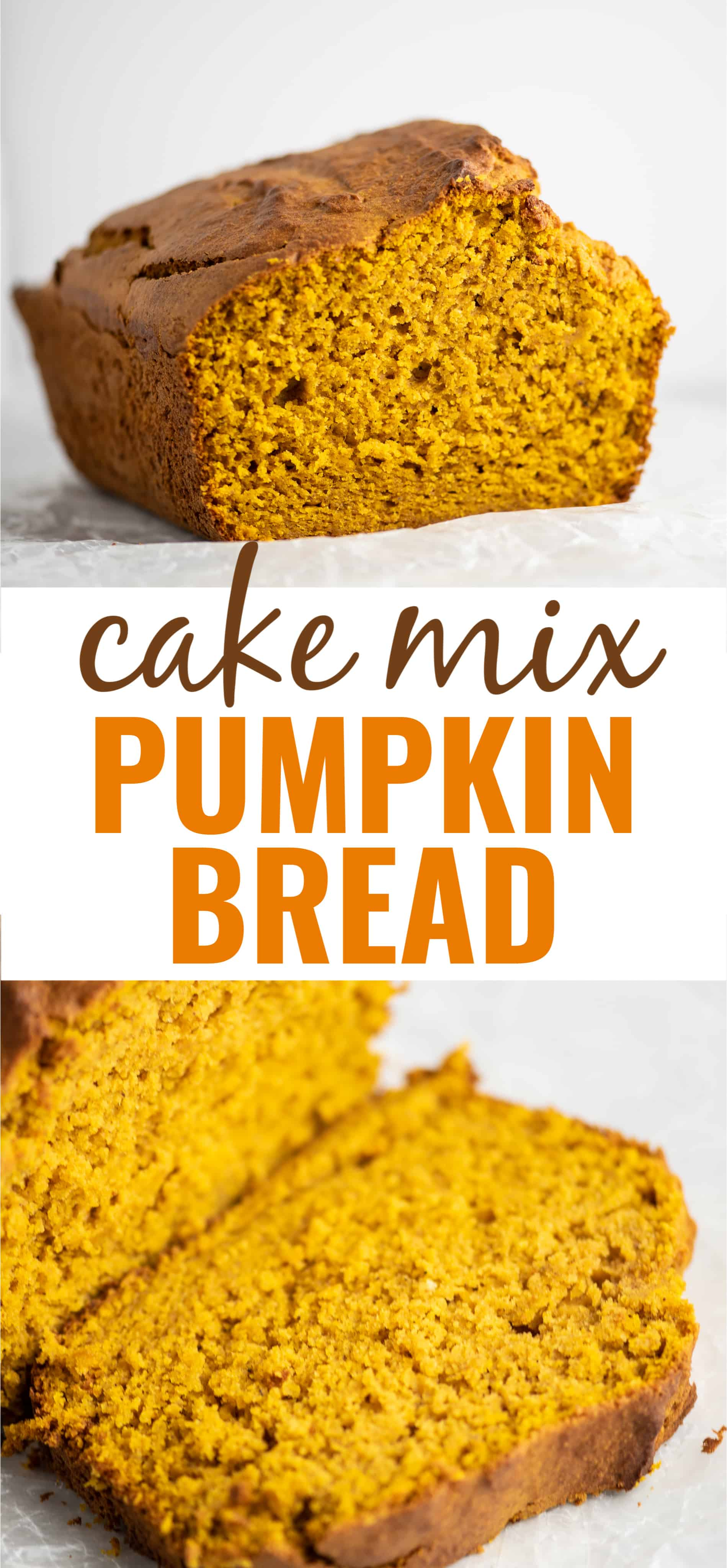 "image with the text ""cake mix pumpkin bread"""