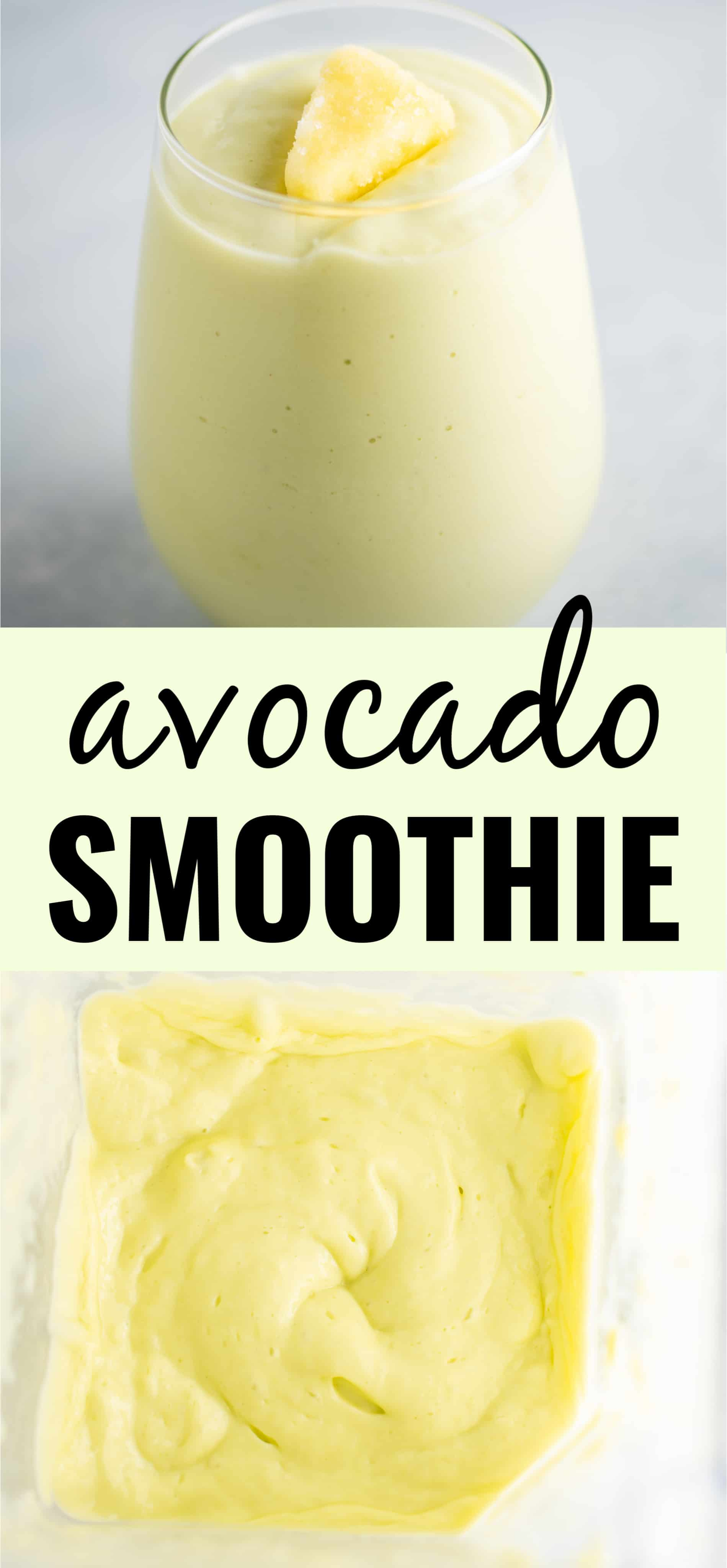 """image of the smoothie with the text """"avocado smoothie"""""""