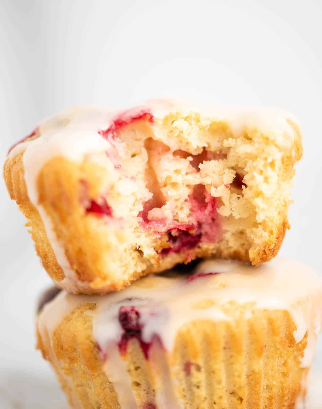 lemon cranberry muffin with a bite taken out