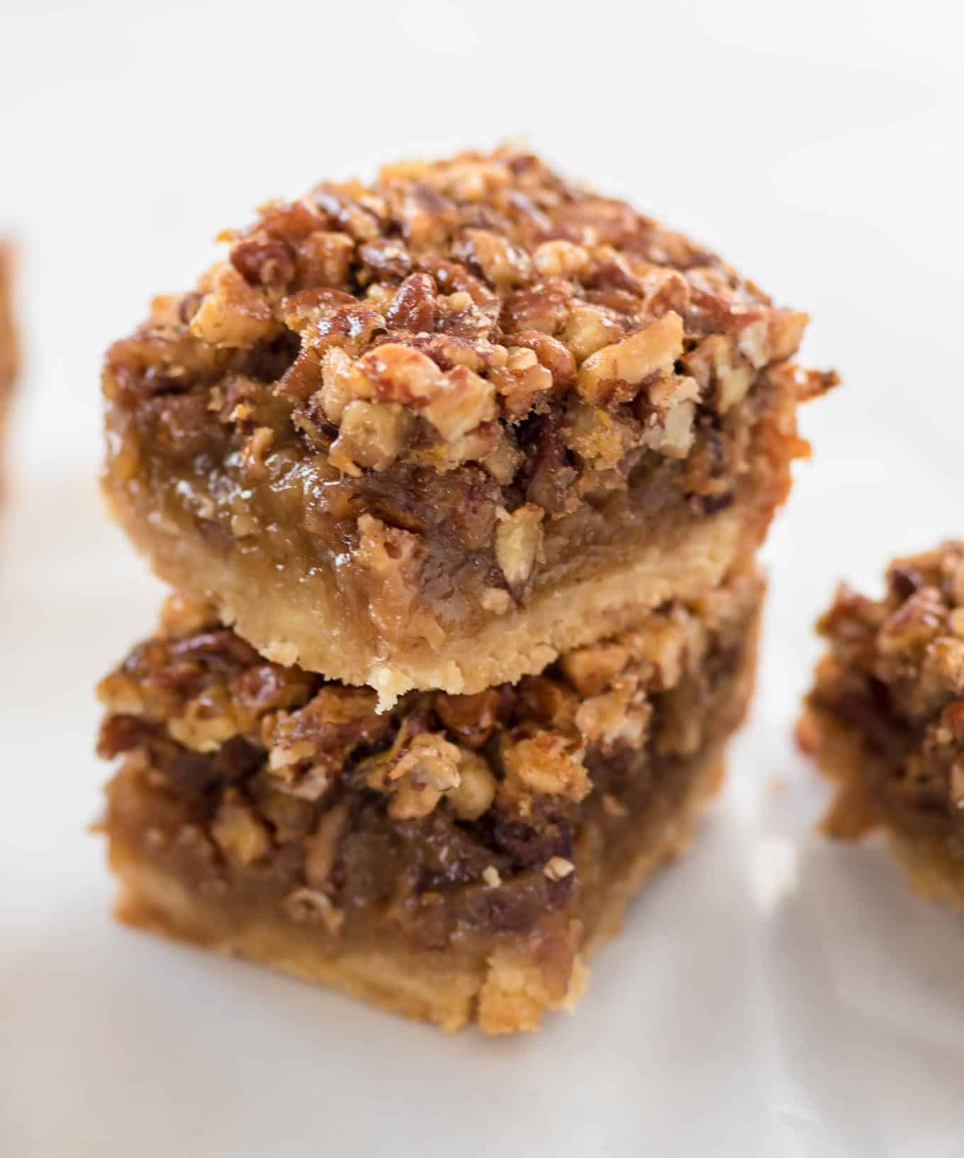two pecan pie bars stacked