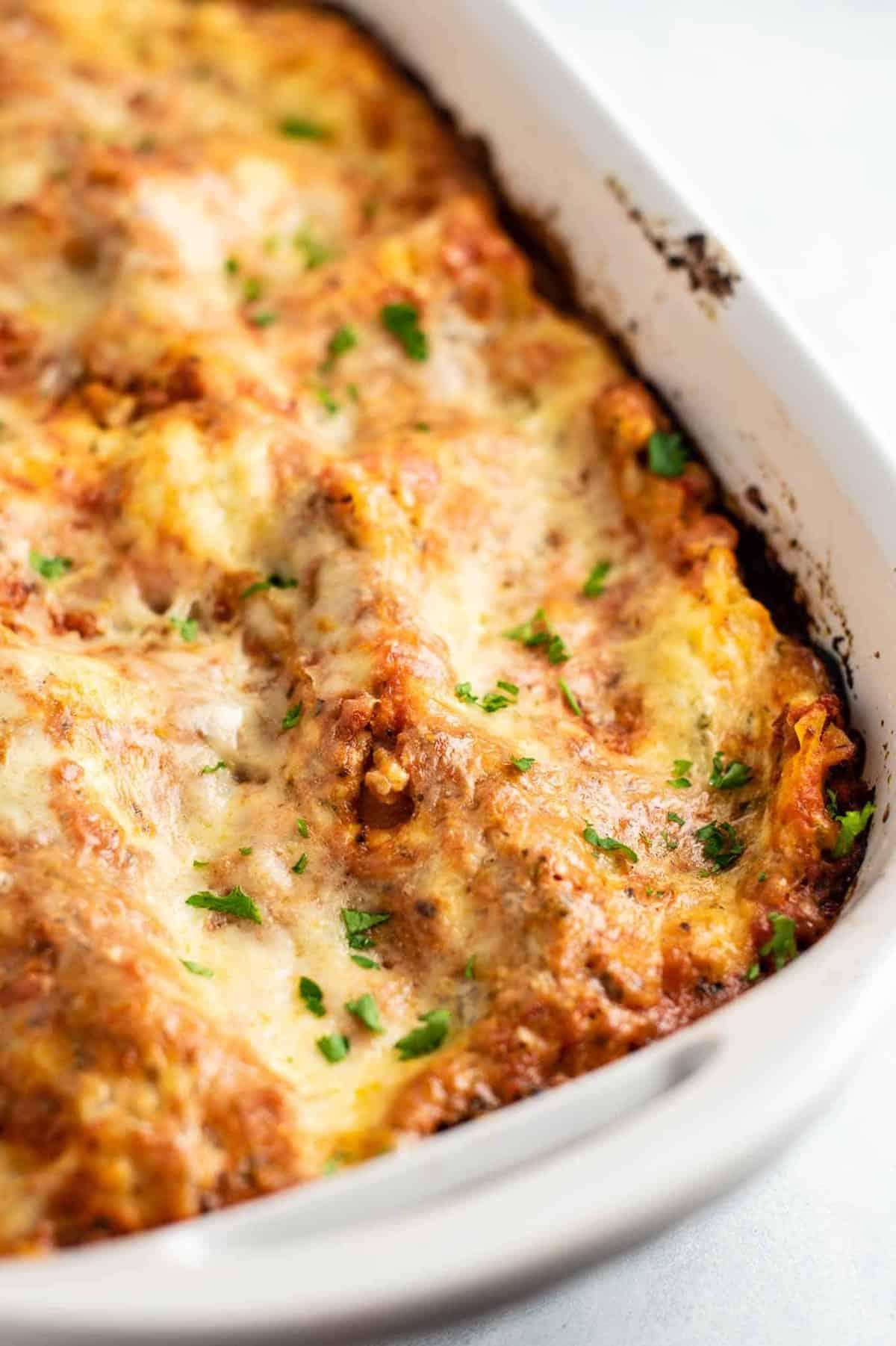 3 cheese lasagna in a casserole dish