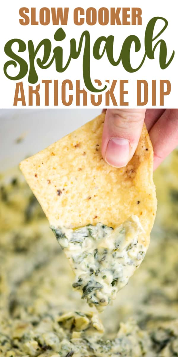 "image with text saying ""slow cooker spinach artichoke dip"""