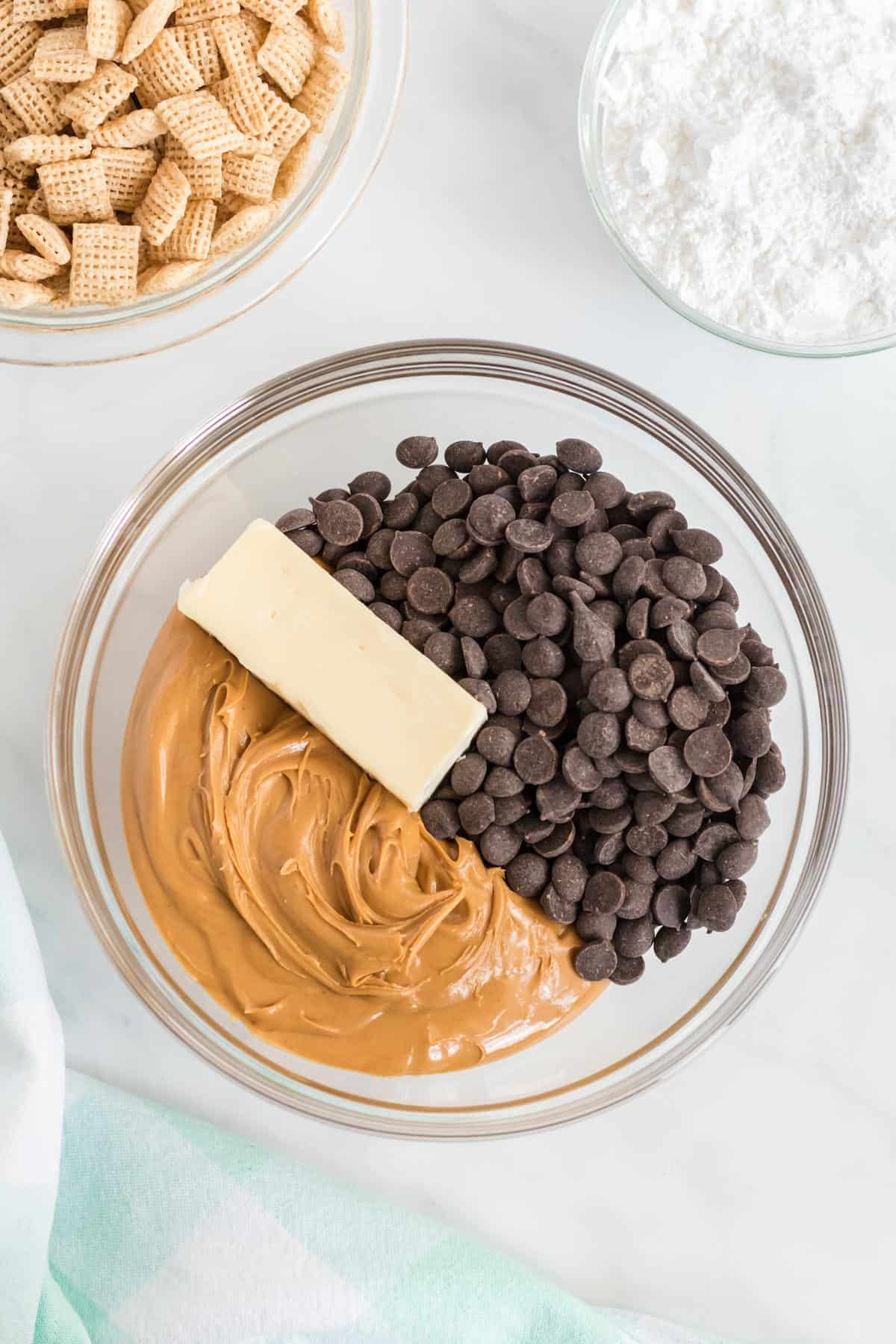 peanut butter, vegan butter, and chocolate chips in a bowl