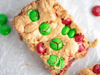 cookie bar with red and green m&m's in it