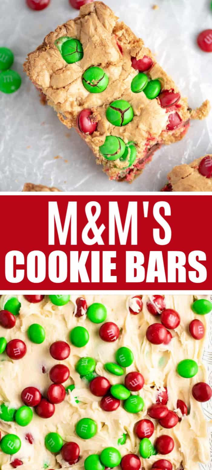 "image with text saying ""M&M's cookie bars"" and two pictures"