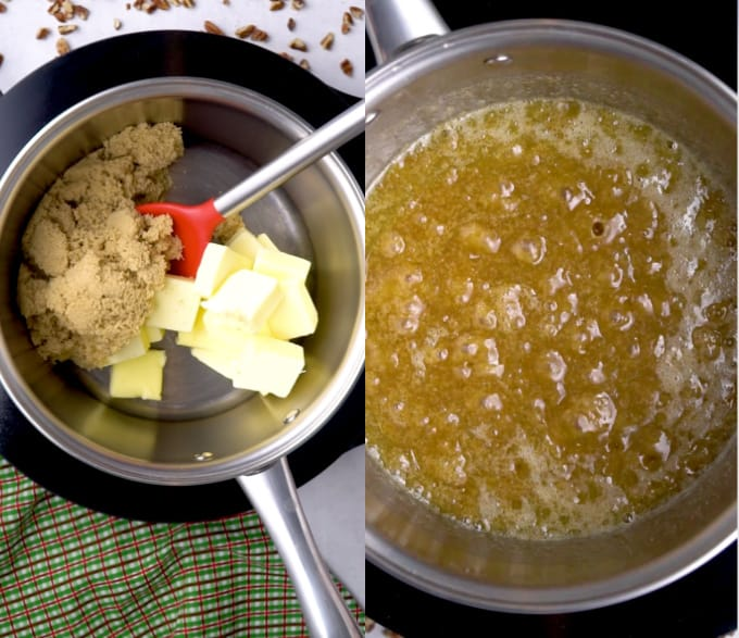 side by side of butter and brown sugar in a pan, then the mixture melted and bubbline