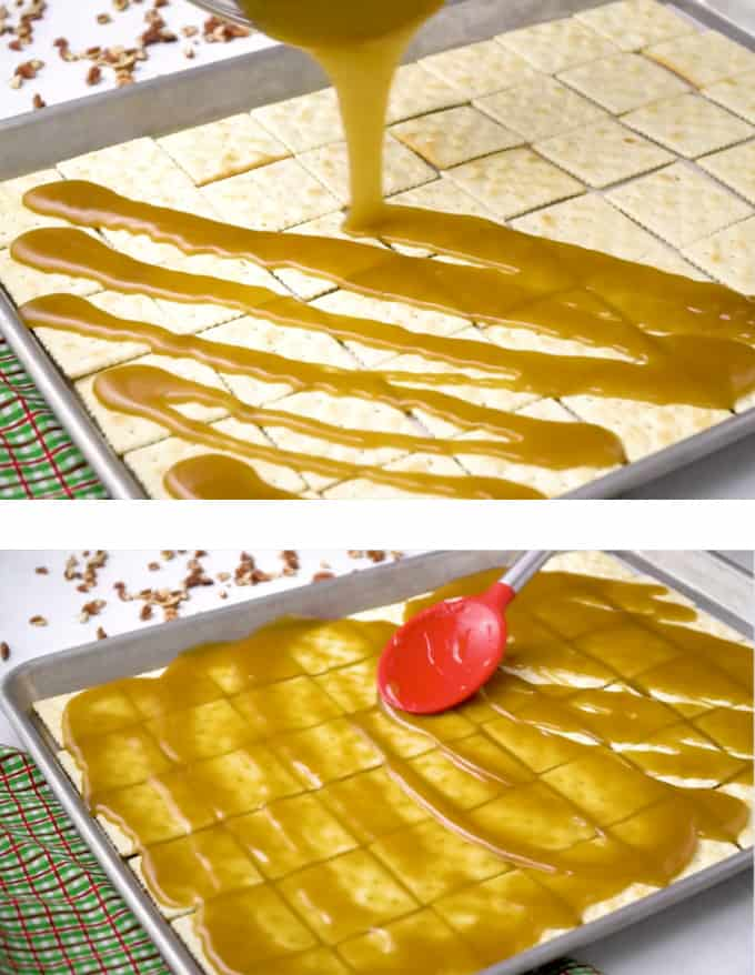 drizzling, then spreading the toffee over the saltine crackers