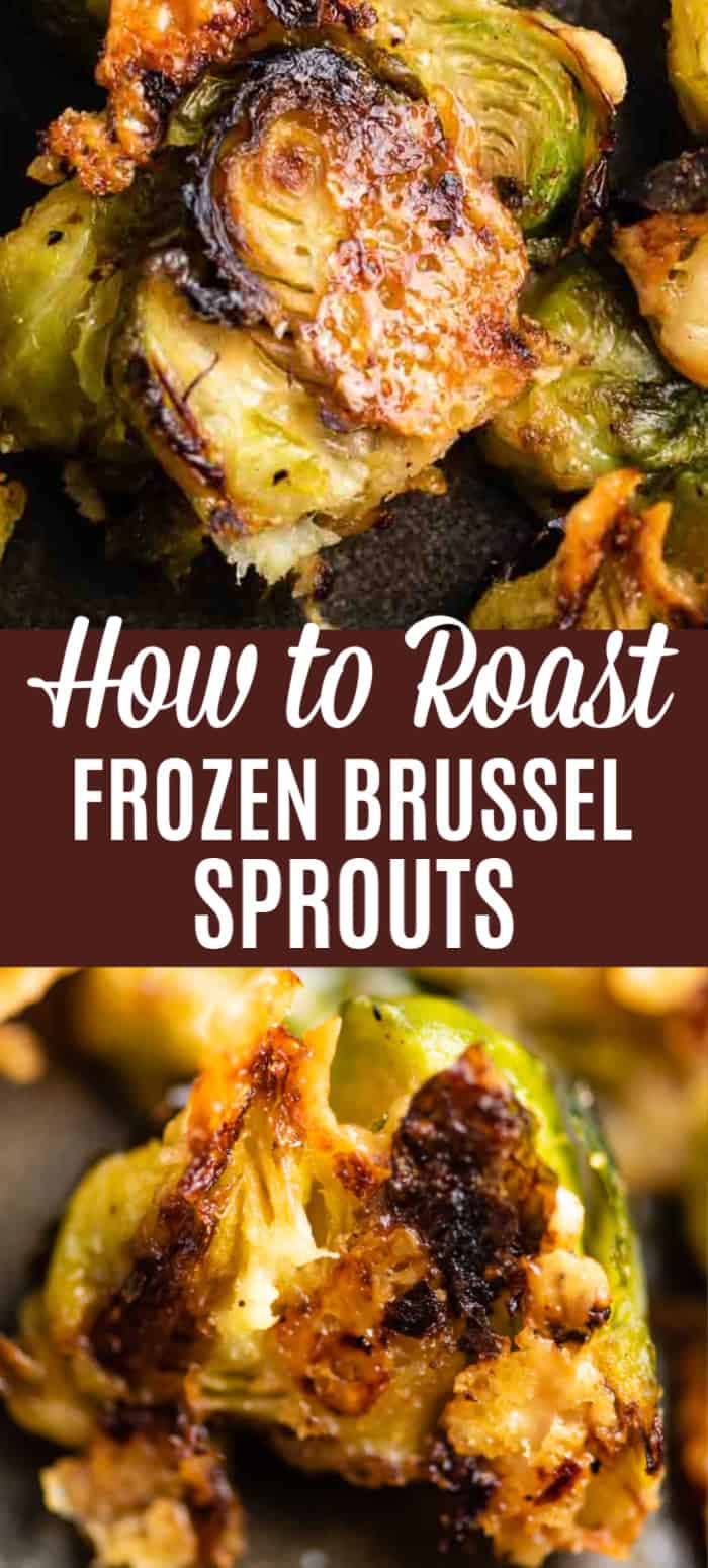 "pinterest image with the text ""how to roast frozen brussel sprouts"""