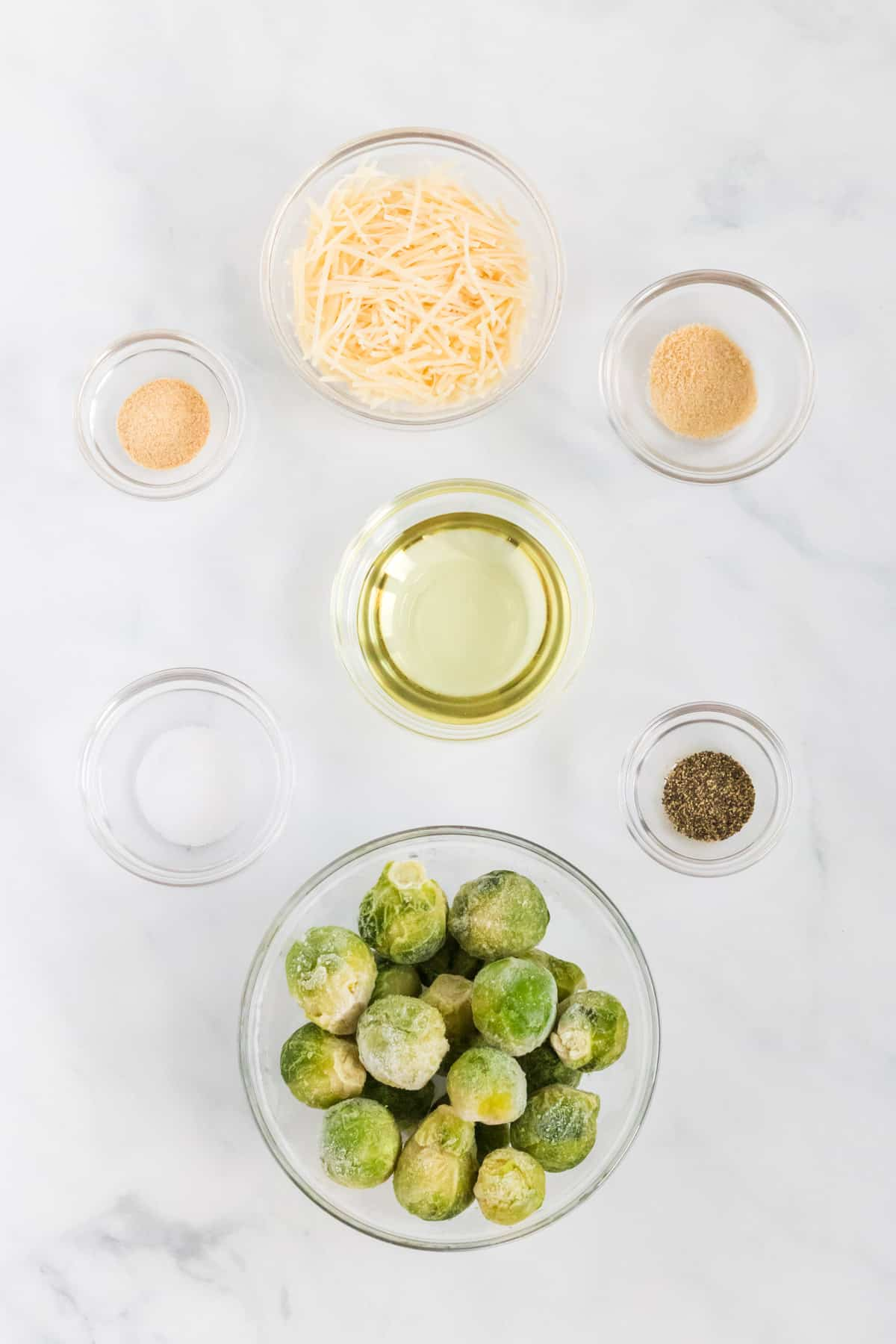 ingredients to make roasted frozen brussels sprouts