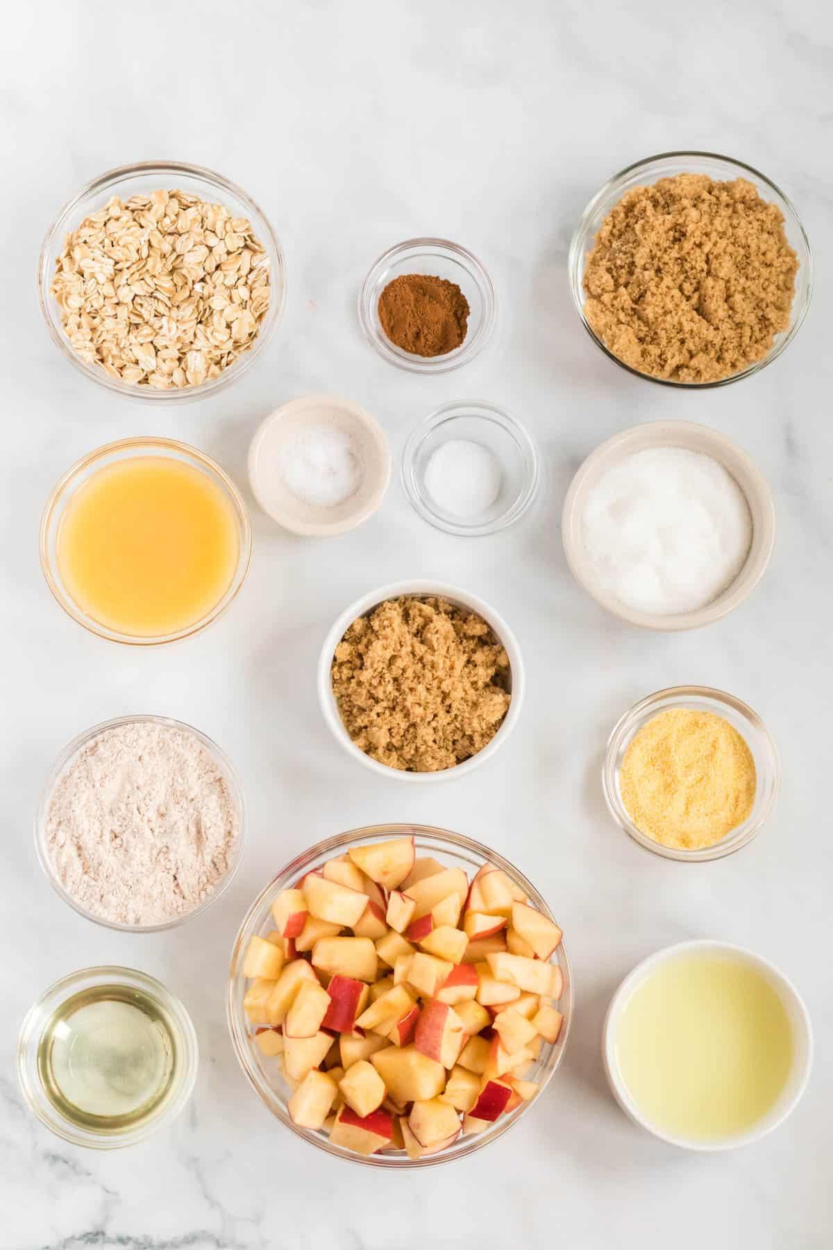 ingredients to make vegan apple crisp