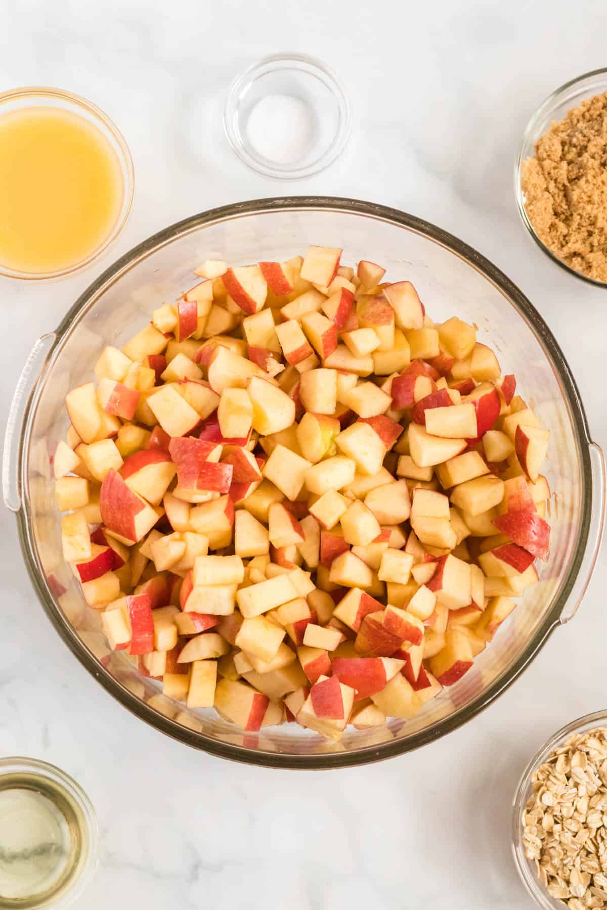 apples cut up in a bowl