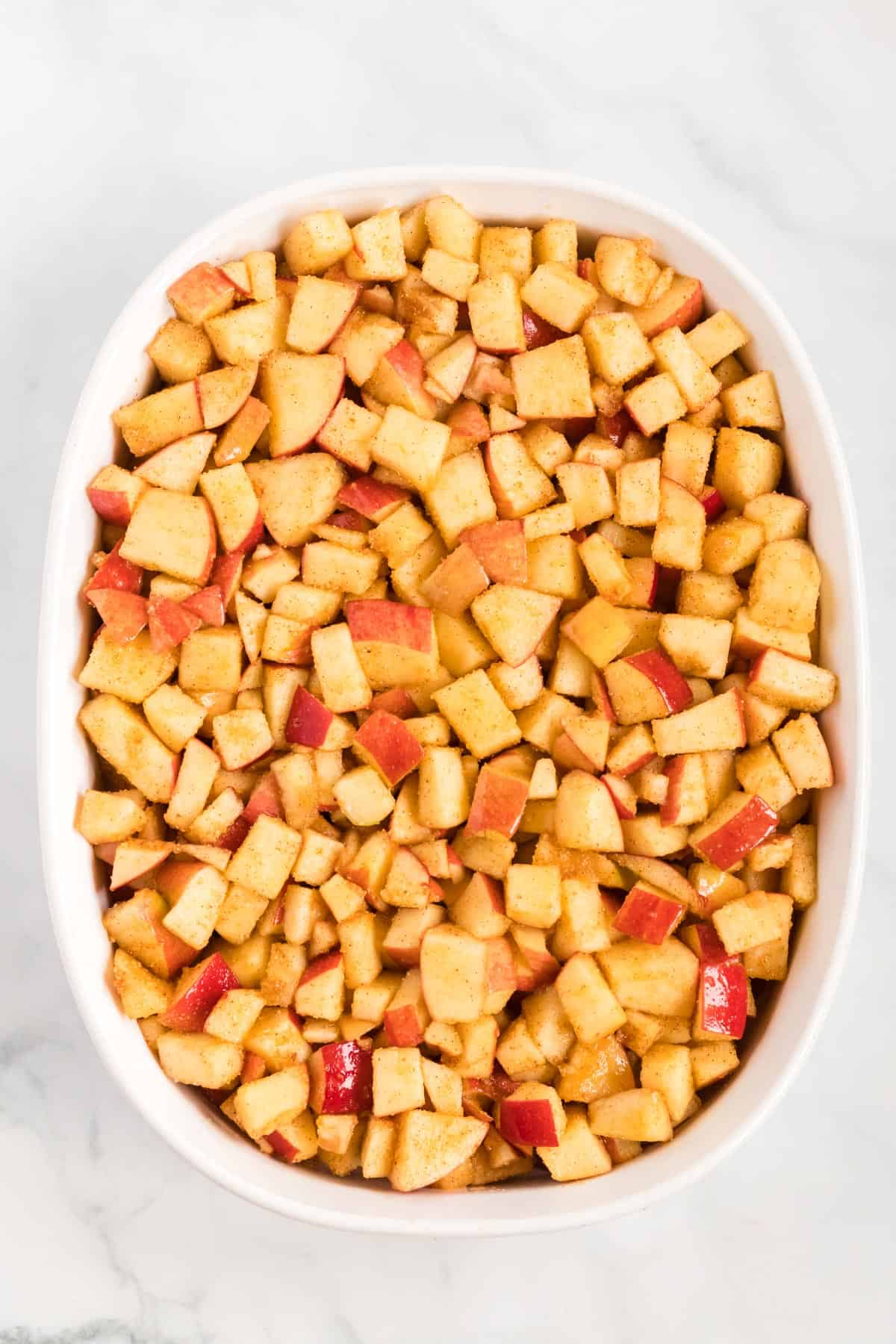 apples in a baking dish