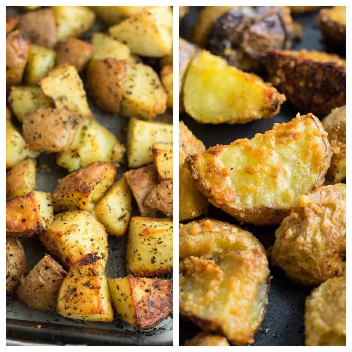 collage image showing baby red potatoes and garlic parmesan potatoes
