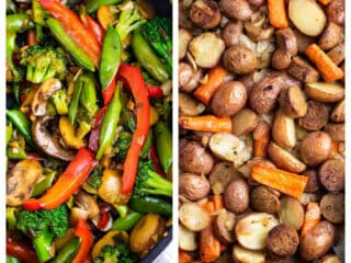 collage image showing stir fry vegetables and a sheet pan vegetarian dinner