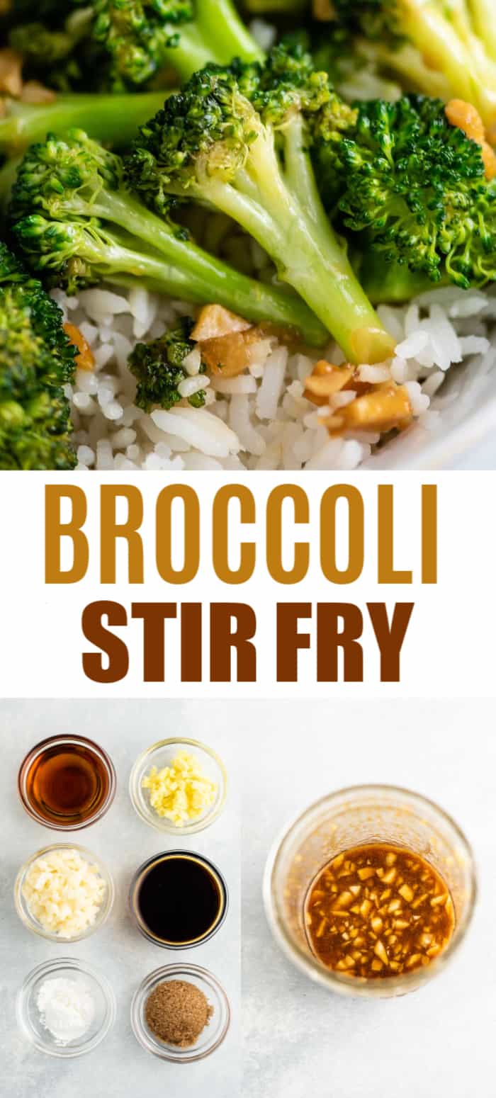 "pinterest image with ""broccoli stir fry"" text and two pictures from the recipe post"