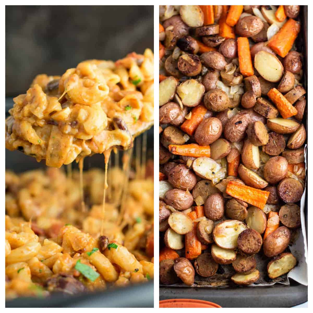 collage image showing slow cooker chili mac and a sheet pan vegetarian dinner