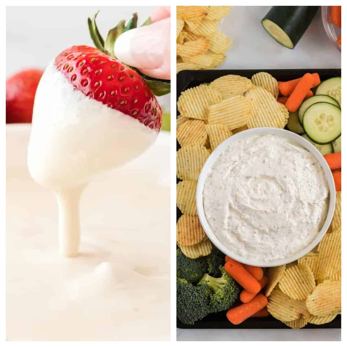 collage image showing fruit dip and chip dip
